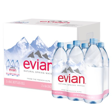 (2 Pack) evian Natural Spring Water, 1 L, 6 Count ()
