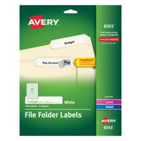 """Avery(R) White File Folder Labels 08593, 2/3"""" x 3-7/16"""", Pack of 150"""