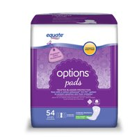 Equate Options Incontinence Pads for Women, Moderate, Long, 54 Ct