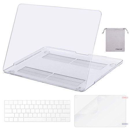 Mosiso MacBook Pro 13 Case 2018 2017 & 2016 Release A1706/A1708/A1989, Plastic Hard Case Shell with Keyboard Cover with Screen Protector with Storage Bag for Newest MacBook Pro 13 Inch, Crystal Clear ()
