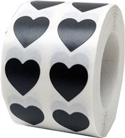 Black Heart Stickers, 0.5 Inch Wide, 1000 Labels on a Roll