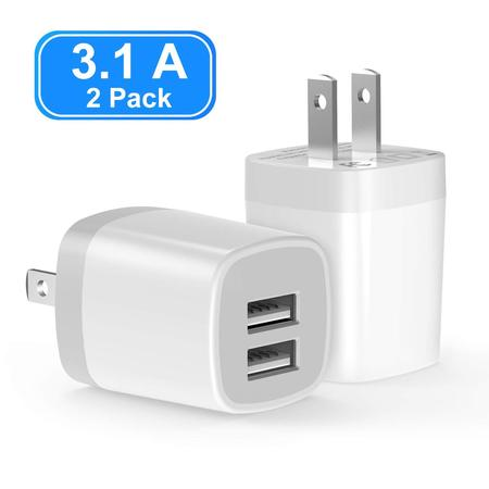 Vogek 3.1A 2-Pack USB Wall Charger, Dual Port USB Wall Charger Universal Power Adapter Compatible with Samsung Galaxy, LG, HTC, Huawei, Moto, Kindle, MP3, Bluetooth Speaker Headset-White