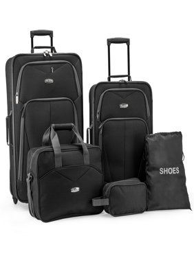 Product Image Elite Luggage Whitfield 5-Piece Softside Lightweight Rolling  Luggage Set, Black f0ddc6773a