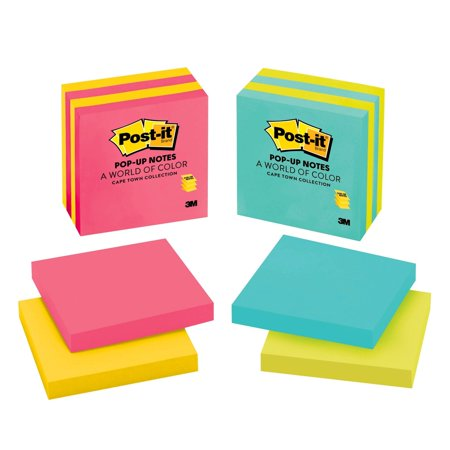 Post-it Pop-up Notes, 3 in x 3 in, Assorted Colors, 4 Pads/Pack