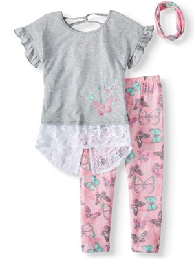 Crochet Trim Tunic, Printed Legging and Headband, 3-Piece Outfit Set (Little Girls & Big Girls)