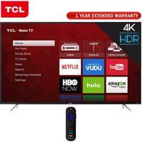 TCL 65 Inch 4K 120Hz Ultra HD Dual Band Roku Smart LED TV Black (65S405) + 1 Year Extended Warranty