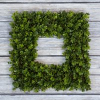 Boxwood Wreath, Artificial Wreath for the Front Door by Pure Garden, Home Decor, UV Resistant 16.5 Inches Square