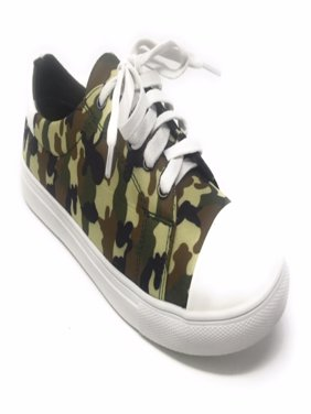 Forever Young Women's Camouflage With Solid White Tipping Lace up Sneakers