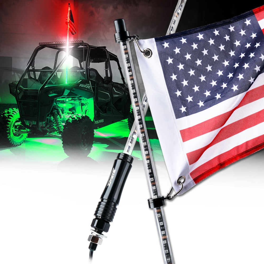 3 Feet Quick Release ATV UTV LED Light Whip with Flag Green