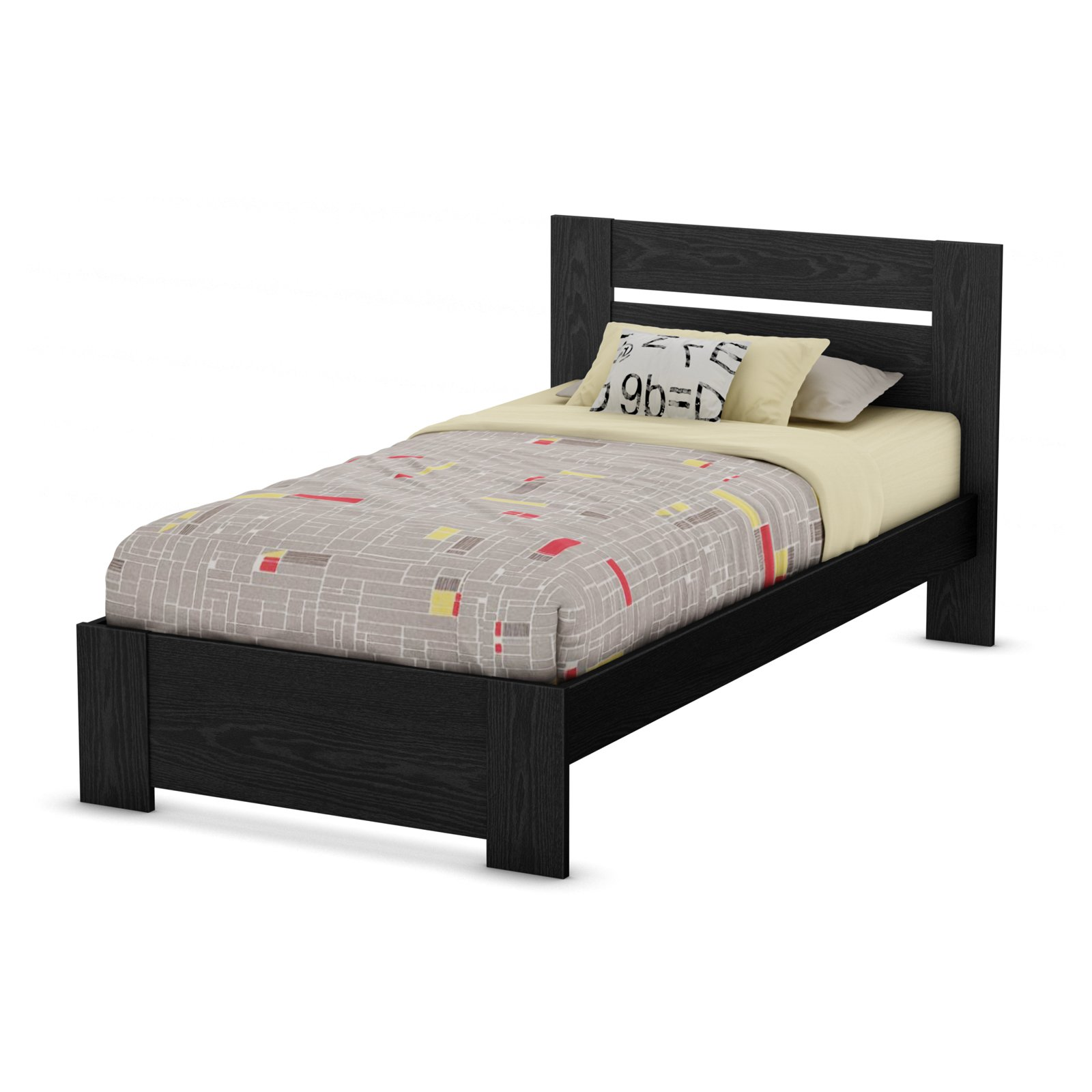 South Shore Flexible Twin Platform Bed, Black Oak Beds