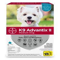 K9 Advantix II Flea and Tick Treatment for Medium Dogs
