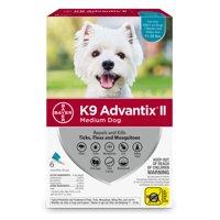 K9 Advantix II Flea and Tick Treatment for Medium Dogs, 6 Monthly Treatments