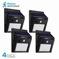TORCHSTAR LED Solar Motion Lights, Wireless Outdoor Wall Lights, Outdoor Security Wall Mount Light for Garden, Patio, Black, Pack of 4