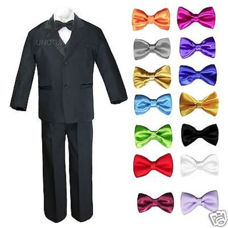 6pc 13 Color Boy Black Formal Wedding Party Suits Tuxedo Set + Bow Tie All Sizes