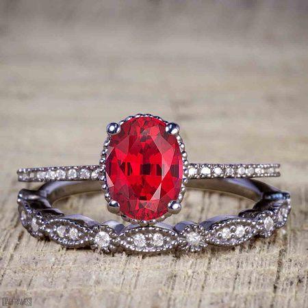 Artdeco 1.25 Carat Oval cut Ruby and Diamond Wedding Bridal Ring Set in Black Gold](Black And White Wedding Sets)