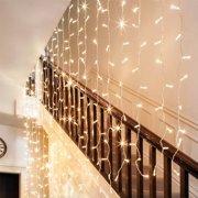 Torchstar 9 8ft X Led Curtain Lights Starry Christmas String Light Indoor