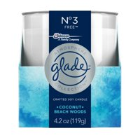 (2 Pack) Glade Crafted Soy Candle, Coconut & Beach Woods, 4.2 Oz