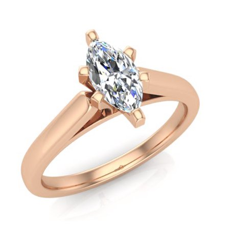 Marquise Cut Solitaire Diamond Engagement Ring 14K Rose Gold 1/3 ctw (I,I1) Popular (Marquise Rose Gold Ring)