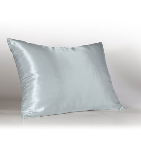 Blue Silk Linen - Sweet Dreams Luxury Satin Pillowcase with Zipper, (Silky Satin Pillow Case for Hair) By Shop Bedding