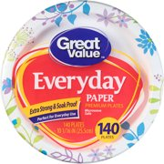 Great Value Everyday Paper Plates,Dinner, 140 Count