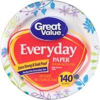 "Great Value Everyday Paper Dinner Plates, 10 1/16"", 140 Count"