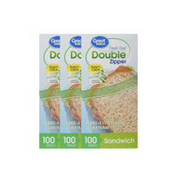 (3 Pack) Great Value Double Zipper Sandwich Bags, 100 Count