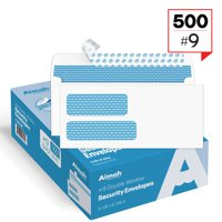 #9 Double Window Security Tinted Self‐Seal Envelopes - 3‐7/8 x 8‐7/8 - 500 count (30139)