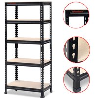 "Yaheetech Storage Rack 59.1""H x 27""W x 12""D 5 Shelf Steel Shelving, Black"