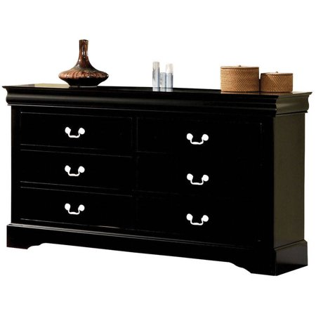 Louis Philippe Lingerie Chest (Acme Furniture Louis Philippe III Black Dresser with Six Drawers)