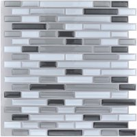 "Art3d 10-Pieces Peel and Stick Vinyl Sticker Kitchen Backsplash Tiles, 12"" x 12"" Gray White Design"