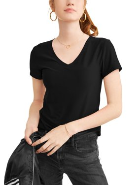 Juniors' Brushed Short Sleeve V-Neck T-Shirt