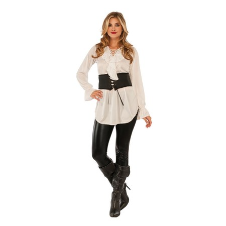 Halloween White Lace Up Pirate Blouse Adult Costume](Halloween Ghost Pirate Makeup)