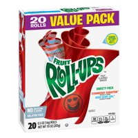 (2 Pack) Fruit Snacks Fruit Roll-Ups Variety Snack Pack 20 Rolls 0.5 oz Each