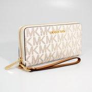 cccf6c516d1e Michael Kors Vanilla/Acorn Jet Set Travel Continental Wristlet Wallet