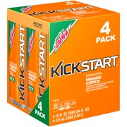(6 Pack) Mountain Dew Kickstart Energizing Juice Beverage, Orange Citrus, 16 Fl Oz, 4 Count