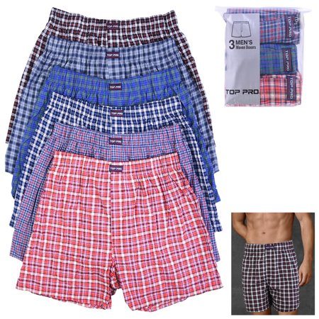 3 Mens Plaid Boxer Shorts Pack Underwear Cotton Trunk Woven Briefs Size S M L (Blue Cotton Boxer)