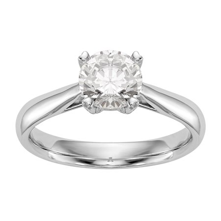 Blue Topaz Color Solitaire (Radiant Fire® Certified Lab Grown 1/2 Ct Round Diamond Solitaire Engagement Ring, SI2 clarity, D E F color, in 14K White)