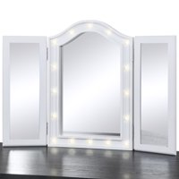 Best Choice Products Lighted Tabletop Tri-Fold Vanity Mirror w/ LED Lights - White