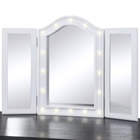 Best Choice Products Lighted Tabletop Tri Fold Vanity Mirror W Led