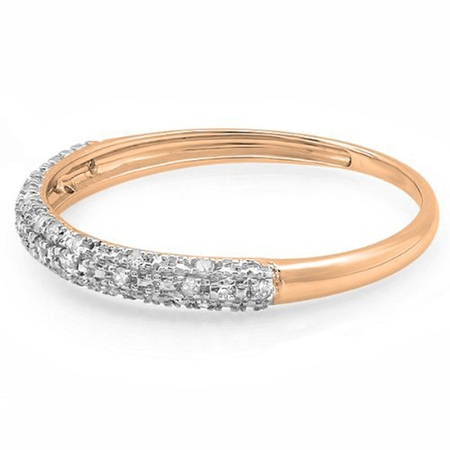 Dazzlingrock Collection 0.10 Carat (ctw) 14k Round Diamond Ladies Anniversary Wedding Band Stackable Ring 1/10 CT, Rose Gold, Size