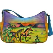 Women's ANNA by Anuschka Hand Painted Leather Twin Top East West Hobo 8193