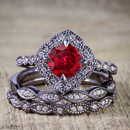Black Diamond Gold Wedding Rings - Bestselling 2.50 Carat Ruby and Diamond Halo Trio Wedding Bridal Ring Set in Black Gold