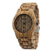 Fashion Wood Watch Bamboo Wooden Analog Quartz Date Display Men's Wrist Watch