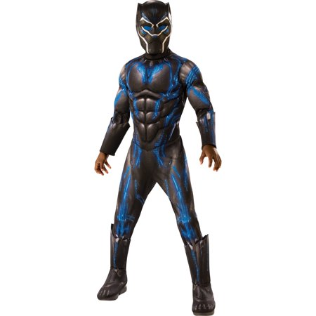 Marvel Black Panther Child Blue Battle Suit Deluxe Halloween Costume](Caveman Costumes For Kids)