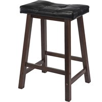 "Winsome Wood Mona 24"" Cushion Saddle Seat Counter Stool, Black & Walnut"