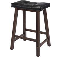 Winsome Wood Mona Cushion Saddle Seat Counter Stool, Black & Walnut