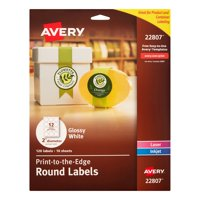 Avery Print-to-the-Edge Round Labels, 2 inch Diameter, Glossy White, 120 Count