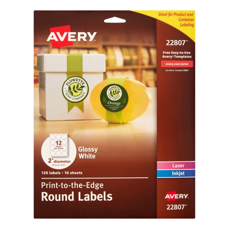 Avery Print To The Edge Round Labels 2 Inch Diameter Glossy White