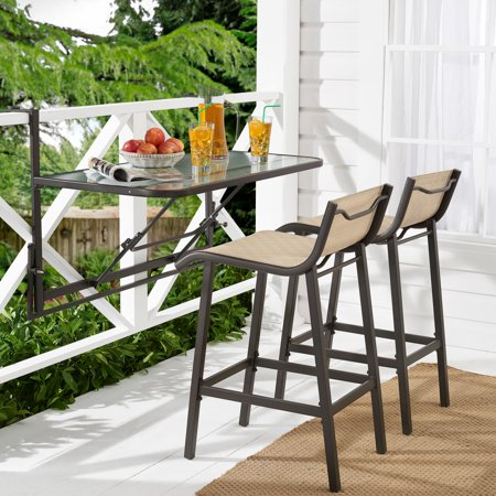 Mainstays Crowley Park 3 Piece Outdoor Bar Set With Fold