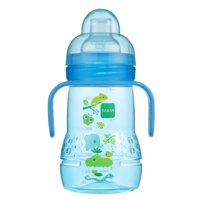 MAM Trainer Cup with nipple and extra soft spout, 8 oz, 1-Count, Boy